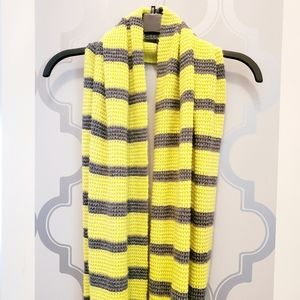 🌹J Crew Yellow And Gray Striped Scarf